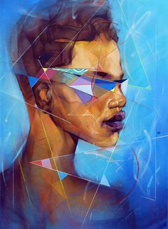 Sam Rodriguez - Painting - The colors and shapes used gives a futuristic vibe to the piece which over runs the beauty of the realistic painting which I find interesting and intriguing.