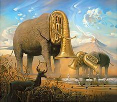 .African Sonata, Vladimir Kush Het geluid die oliftanten maken wordt geassocieerd met trompetgeluiden, daarom zijn de slurven van de olifanten verandert in gigantische trompetten. Kush gebruikt het vaakst olieverf voor zijn werk en dit is dus ook weer olieverf op canvas.
