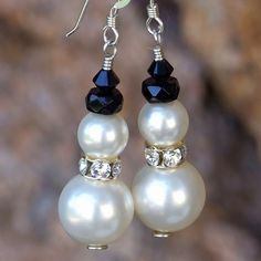 Swarovski Pearl Snowman Handmade Christmas Earrings Holiday Jewelry  | ShadowDogDesigns - Jewelry on ArtFire