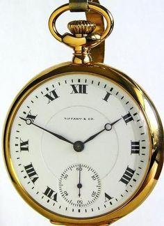 Tiffany and Company 18K Solid Gold Railroad Pocket Watch Circa 1915