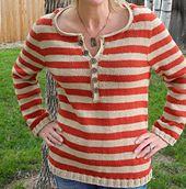 Gestreepte trui; stekenverhouding 18 steken = 10 cm.