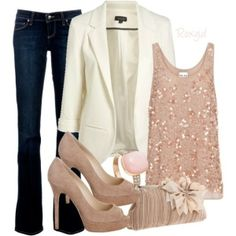 Sequined peach coloured tank top paired with dark blue straight-cut jeans and an off white blazer. Added accessories are the peach coloured flower clutch and pink and diamond ring with peep-toe heels ♥