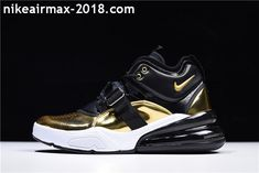 new styles 0ad18 d0a20 2018 Man Nike Air Force 270 Gold Standard Black White Golden AT5752-700  Black And