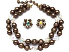 Lisner Necklace and Earrings, Vintage 1950s, Mocha Brown and Crystal, Free Shipping by CarnabyVintageJewels for $36.00