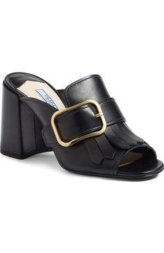 PRADA Kiltie Fringe Buckle Strap Mule (Women). #prada #shoes #sandals