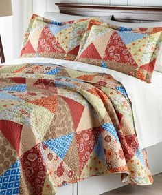 This Brown & Blue Floral Quilt Set by Hotel 5th Ave™ is perfect! #zulilyfinds