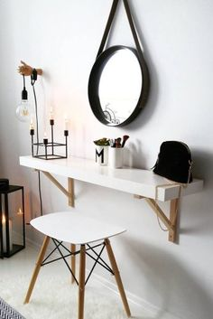 Incredible ikea bedroom, shelves and storage ideas make up tisch, link Small Apartments, Small Spaces, Small Rooms, Shelves In Bedroom, New Room, Room Inspiration, Bedroom Decor, Bedroom Ideas, Budget Bedroom