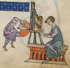 ORGAN Detail from The Luttrell Psalter, British Library Add MS 42130 (medieval manuscript,1325-1340), f55r