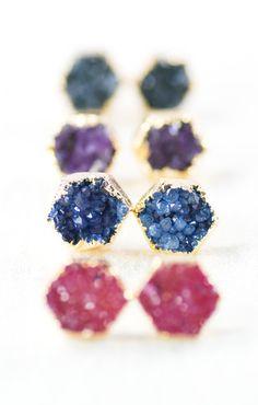 Hie earrings gold druzy hexagon stud earrings by kealohajewelry