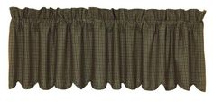 """Tea Cabin Green Plaid Scalloped Lined Curtain Valance 72"""" x 16"""""""