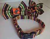 Halloween collars for dogs and cats with available matching spider collar flower or bow tie.