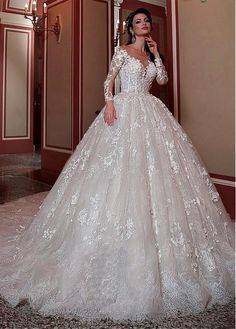 Buy discount Glamorous Tulle & Lace Scoop Neckline Ball Gown Wedding Dress With Lace Appliques & Beadings at Magbridal.com