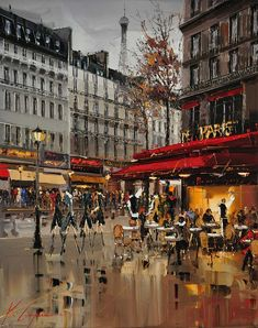 "Kal Gajoum ~ Café de Paris ~ 30""x24"""