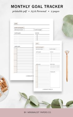 Monthly Goal Tracker and Goal Planner, Monthly Goals and Habit Tracker, Monthly Tracker, and Goal Printable - A5 & Personal Size For Individual Who Loves Minimalistic And Clean Design, Instant Download! #etsyplanners #monthygoaltracker #monthlygoals #goalplanner #habitracker #goalprintable Goals Printable, Printable Planner, Printables, Monthly Goal, Weekly Goals, Planner Dividers, Goals Planner, Papers Co, Clean Design