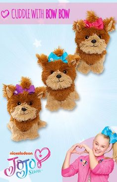 It's JoJo Siwa's adorable pup, Bow Bow! This cuddly Bow Bow plush looks just like the singer, dancer and Nickelodeon star's puppy! The Bow Bow plush is the perfect gift with her super soft and fuzzy fur and cute collectible size! Snuggle up to Bow Bow and take her with you wherever you go.