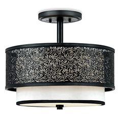 Quoizel Utopia Mystic Black Ceiling Light With Cream Silk Shade Bed Bath Beyond Lighting