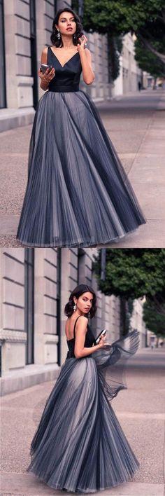 V-Neck Sleeveless Tulle Floor Length Evening Dress Prom