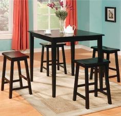Casual Dining Room Set, Black