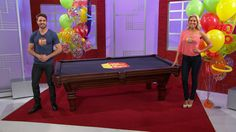 "HERE AT THE BOB BARKER STUDIO, IT'S ""PRICE IS RIGHT DAY,"" AND WE'RE KICKING THIS SHOWCASE OFF WITH A SIGNATURE, PRICE IS RIGHT LOGO POOL TABLE! THIS HAMPTON 8 FOOT BILLIARDS TABLE FEATURES AN INTEGRATED CUE AND BALL STORAGE DRAWER, AND A DURABLE HERITAGE FINISH. ACCESSORY PACKAGE INCLUDED... FROM OLHAUSEN BILLIARDS. #PriceIsRight #MakeUpYourOwnHoliday"