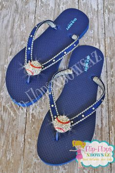e85459fd1acd Baseball Bling Flip Flops Ladies Size 7