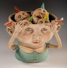"""""""The Reason I Don't Sleep at Night"""", Clay sculpture by Kina Crow … Muse Kunst, Marionette, Ceramic Figures, Ceramic Artists, Muse Art, Wow Art, Paperclay, Sculpture Clay, Ceramic Sculptures"""