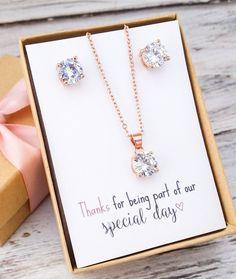 Rose Gold Jewelry Set - Bridesmaid Jewelry Set - Wedding Ideas