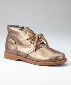 Flashy and fun from Calvin Klein: Gold Metallic Leather Donna Chukka Boot