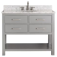 vanity Brooks Chilled Grey 42-inch Vanity Combo With its soft-close drawers and open-shelf base, the 42-inch Brooks vanity combo provides ample bathroom storage. Featuring a chilled grey finish and clean lines, the Brooks embraces a timeless transitional aesthetic. The combo includes either a durable black granite, galala beige or carrera white marble top and oval white vitreous china sink.