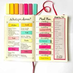 Meal Planning Ideas for bullet journal lay out. Do you want to start a bullet journal? Check out these 23 Awesome Bullet Journal Ideas to Get You Motivated!