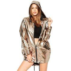 Women's Gold Hooded Jacket - $29.69 on AliExpress via Thieve.co