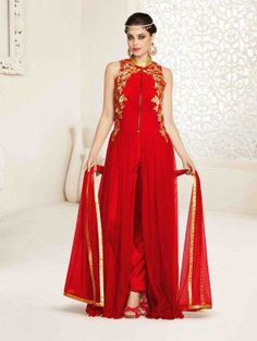 Red Net Anarkali Suit with Embroidery Work