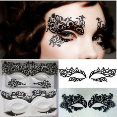 Lot of 4 Pairs Temporary Eye Tattoo Transfer Eyeshadow Stickers Vintage Eyeliner