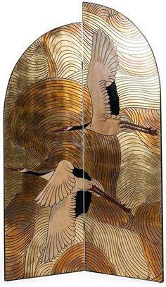 Art Déco - Paravent 'Asymétrique' - Hérons Art Nouveau, Chinoiserie, Art Deco Stil, Decorative Screens, Art Deco Period, Art Deco Furniture, Art Deco Design, Art Deco Fashion, Japanese Art