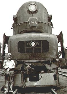 Pennsylvania Railroad T-1 Duplex, East St. Louis, late 1940s. Not sure whether the man is the engineer or a roundhouse worker. Whatever the case, he and those like him vanished along with the steam locomotive. The T-1 duplex-drive passenger locomotive was capable of speeds well in excess of 100 mph.