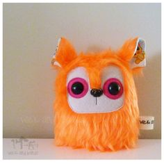 $13 Critter Plush Orange Pink Eyes by Wickandbandit on Handmade Australia