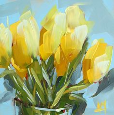 Yellow Tulips on Blue   angela moulton's painting a day