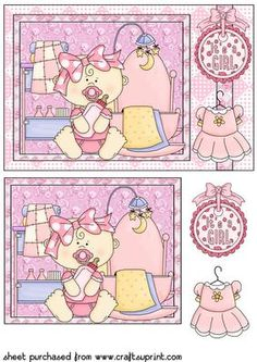 New baby girl rectangle card front on Craftsuprint designed by Sharon Poore - New baby girl rectangle card front with decoupage - Now available for download!