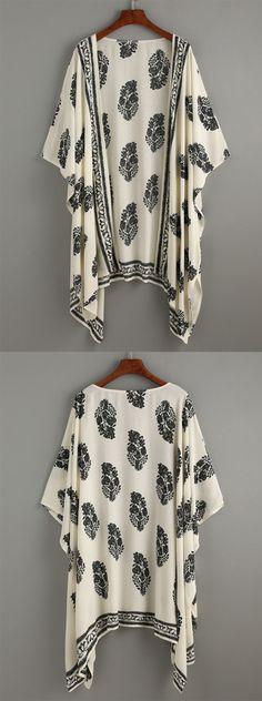 Boho print kimono cover up black cream exact pattern placement may vary slightly due to fabric cuts. Colors may appear slight different due to screen display settings & professional lighting. Fall Outfits, Cute Outfits, Leila, Dress Me Up, Prom Dress, Dress Skirt, Fasion, Fashion Outfits, Swagg
