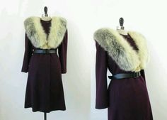 Late 30's early 1940's Plum Wool coat w/ dramatic fur collar ~  •4 Birds Vintage•  on etsy.