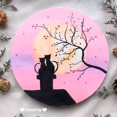 Beautiful Acrylic Painting Video Tutorial Part 30 # Simple Canvas Paintings, Easy Canvas Painting, Diy Painting, Sillouette Painting, Budha Painting, Canvas Painting Tutorials, Painting Videos, Mini Canvas Art, Acrylic Art
