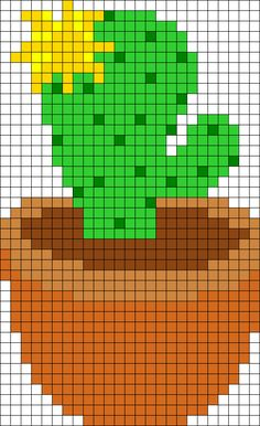 Yellow Flowering Cactus Perler Bead Pattern / Bead Sprite