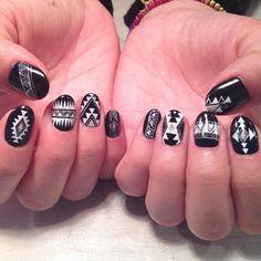 Black and white Aztec design nail art.  by thenailbarsydney http://ift.tt/1NRMbNv