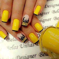 Unhas Nails Esmaltes Amarelo Preto Decorada