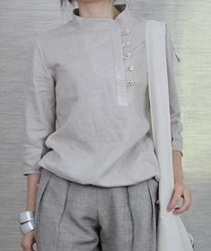Side Buttons Round Collar Linen Shirt japanese minmalist chic in neutral colours en trend fashion style casual wear for alice on the run Linen Dresses, Casual Dresses, Fashion Dresses, Inspiration Mode, Mode Hijab, Mode Style, Blouse Designs, Clothes For Women, Womens Fashion