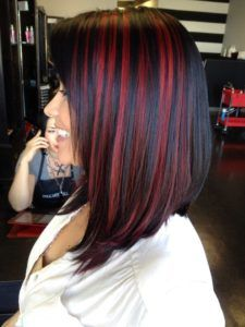 Types of Hair Highlights explained from different hair salons with pictures. Various auburn, brown and red hair highlights ideas, styles, and trends in Black Hair With Red Highlights, Dark Red Hair, Hair Color For Black Hair, Red Hair Streaks, Dark Red Highlights, Chunky Highlights, Red Foils Hair, Cherry Red Hair, Pink And Black Hair