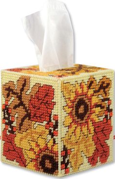 Fall Tissue Box Cover. Sunflowers and colorful leaves.