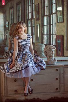 Vintage Modern Elizabeth Gathered-Waist Dress