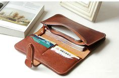 Brown leather wallet womanvintage от MagicLeatherStudio на Etsy