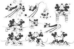 """Mickey and Minnie model sheet from """"Get a Horse"""", animated short set to play before Frozen ✤ 