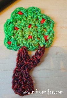 Free Crochet Pattern ~Apple Tree Motif http://www.niftynnifer.com/2014/10/free-crochet-pattern-apple-tree-motif.html